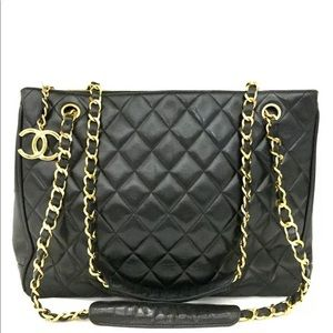 CHANEL Quilted Matelasse Lambskin CC Logo GST Bag